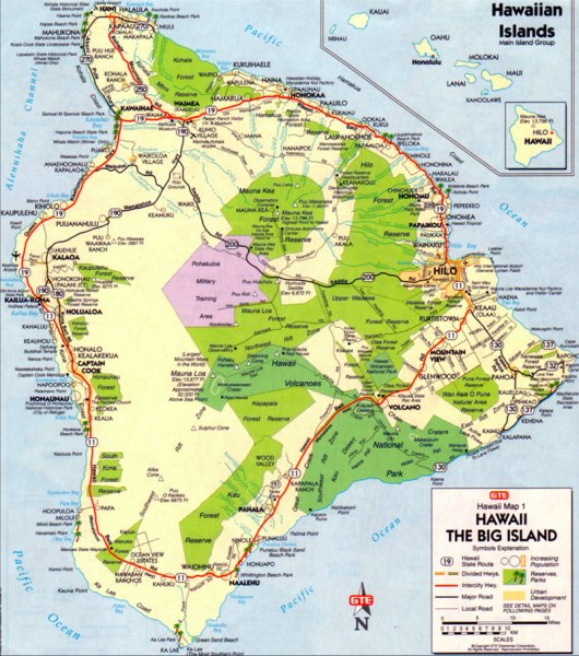 big island map hawaii
