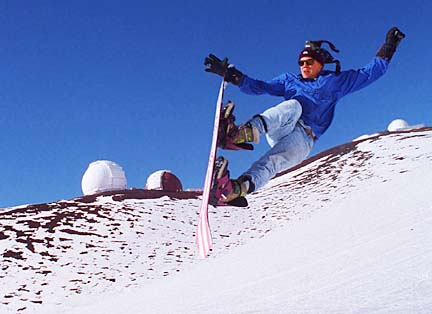 Snow boarding on Mauna Kea.  Photo by Dennis Oda.